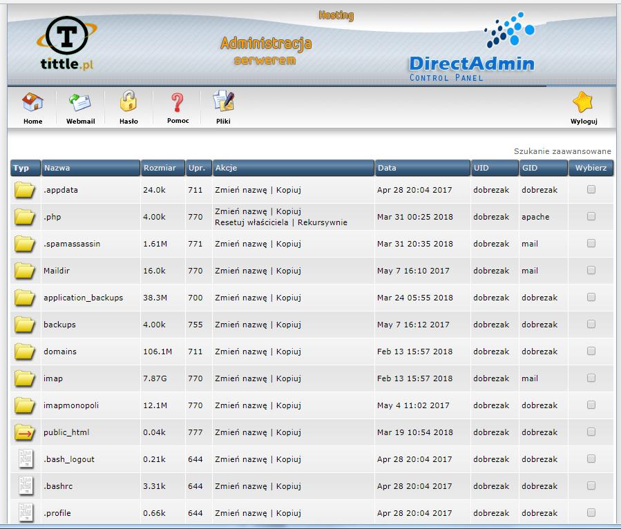 Menager plików TITTLE.pl w Direct Admin (DA)
